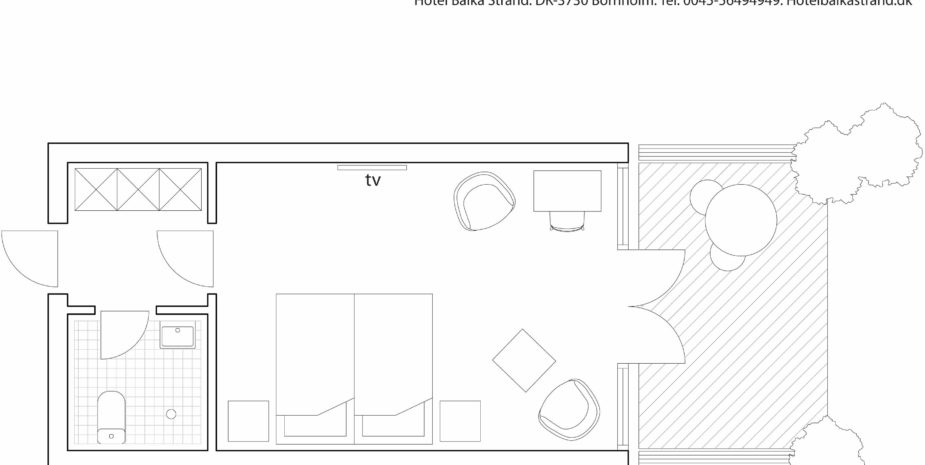 Floor plan double room Hotel Balka Strand