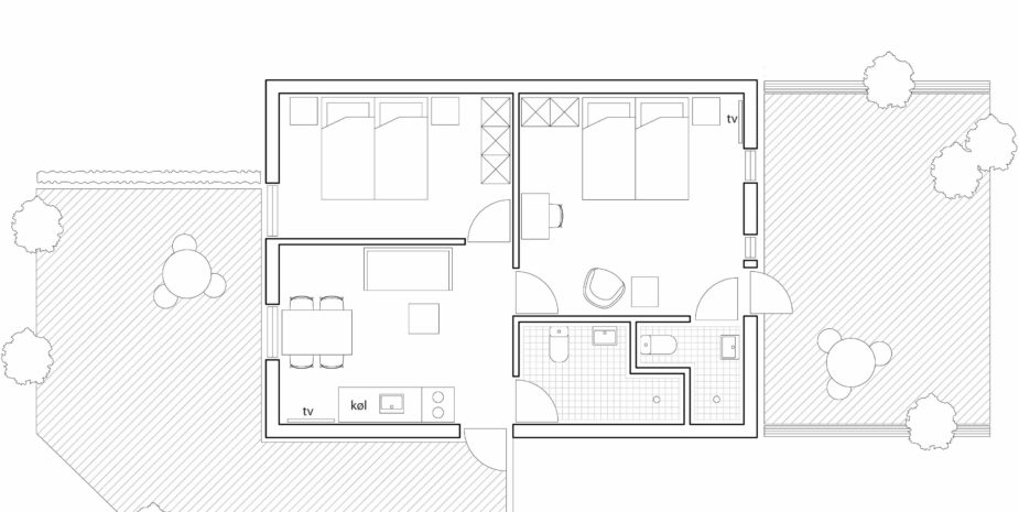 Floor plan family apartment Hotel Balka Strand