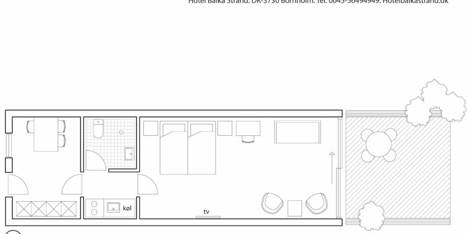 Floorplan studio apartment Hotel Balka Strand